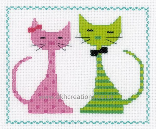 Pink And  Green Cat  Cross Stitch Kit